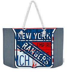 Rangers Original Six Hockey Team Retro Logo Vintage Recycled New York License Plate Art Weekender Tote Bag by Design Turnpike