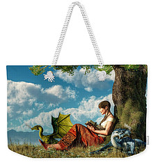 Reading About Dragons Weekender Tote Bag by Daniel Eskridge