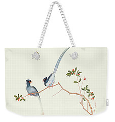 Red Billed Blue Magpies On A Branch With Red Berries Weekender Tote Bag by Chinese School