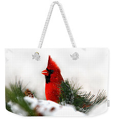 Red Cardinal Weekender Tote Bag by Christina Rollo