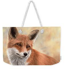 Red Fox Painting Weekender Tote Bag by Rachel Stribbling
