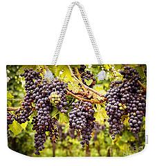 Red Grapes In Vineyard Weekender Tote Bag by Elena Elisseeva
