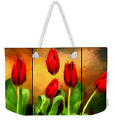 Red Tulips Triptych Weekender Tote Bag by Lourry Legarde