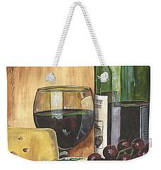 Red Wine And Cheese Weekender Tote Bag by Debbie DeWitt