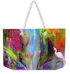Waterfall And White Peacock, Redbud Falls Weekender Tote Bag by Jane Small