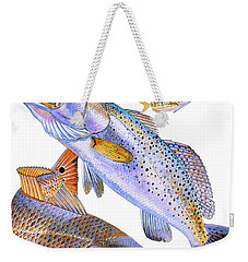 Redfish Trout Weekender Tote Bag by Carey Chen