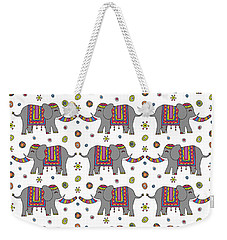 Repeat Print - Indian Elephant Weekender Tote Bag by Susan Claire