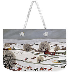 Riding In The Snow Weekender Tote Bag by Vincent Haddelsey
