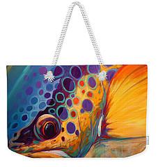 River Orchid - Brown Trout Weekender Tote Bag by Savlen Art