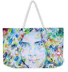 Robert Plant - Watercolor Portrait Weekender Tote Bag by Fabrizio Cassetta