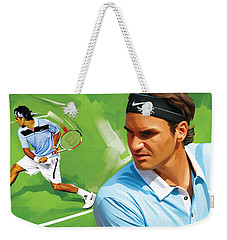 Roger Federer Artwork Weekender Tote Bag by Sheraz A