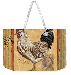 Rooster And Stripes Weekender Tote Bag by Debbie DeWitt