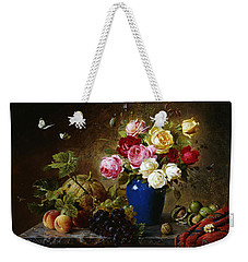 Roses In A Vase Peaches Nuts And A Melon On A Marbled Ledge Weekender Tote Bag by Olaf August Hermansen