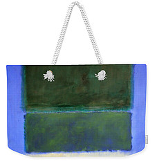 Rothko's No. 14 -- White And Greens In Blue Weekender Tote Bag by Cora Wandel