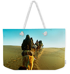 Row Of People Riding Camels Weekender Tote Bag by Panoramic Images