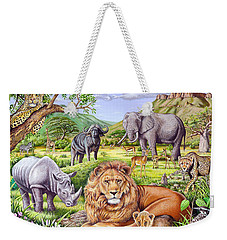 Saharan Animal Gathering Weekender Tote Bag by Mark Gregory