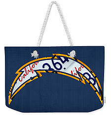 San Diego Chargers Football Team Retro Logo California License Plate Art Weekender Tote Bag by Design Turnpike