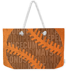 San Francisco Giants Baseball Typography Famous Player Names On Canvas Weekender Tote Bag by Design Turnpike