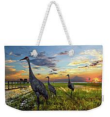 Sandhill Sunset Weekender Tote Bag by Debra and Dave Vanderlaan