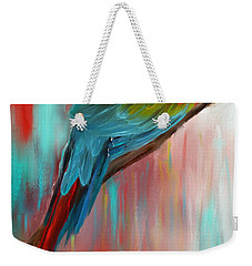Scarlet- Red And Turquoise Art Weekender Tote Bag by Lourry Legarde