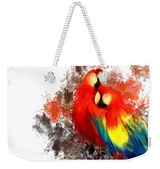 Scarlet Macaw Weekender Tote Bag by Lourry Legarde