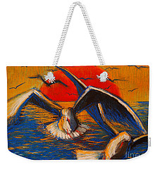 Seagulls At Sunset Weekender Tote Bag by Mona Edulesco