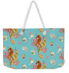 Seahorses Coral And Shells Weekender Tote Bag by Kimberly McSparran