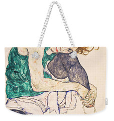 Seated Woman With Legs Drawn Up. Adele Herms Weekender Tote Bag by Egon Schiele