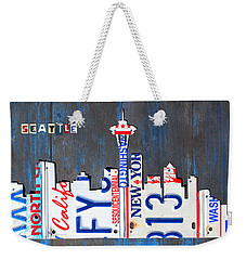 Seattle Washington Space Needle Skyline License Plate Art By Design Turnpike Weekender Tote Bag by Design Turnpike