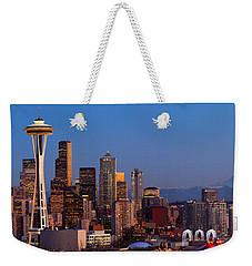 Seattle Winter Evening Panorama Weekender Tote Bag by Inge Johnsson
