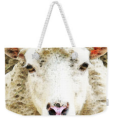 Sheep Art - White Sheep Weekender Tote Bag by Sharon Cummings