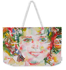 Shirley Temple - Watercolor Portrait.1 Weekender Tote Bag by Fabrizio Cassetta