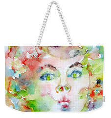 Shirley Temple - Watercolor Portrait.2 Weekender Tote Bag by Fabrizio Cassetta