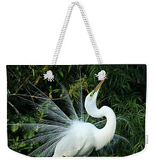 Showy Great White Egret Weekender Tote Bag by Sabrina L Ryan