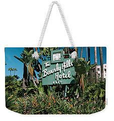 Signboard Of A Hotel, Beverly Hills Weekender Tote Bag by Panoramic Images