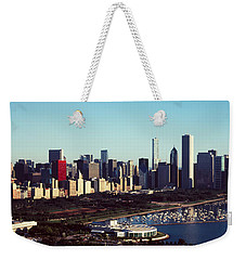 Skyscrapers At The Waterfront, Hancock Weekender Tote Bag by Panoramic Images