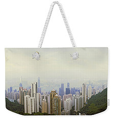 Skyscrapers In A City, Hong Kong, China Weekender Tote Bag by Panoramic Images
