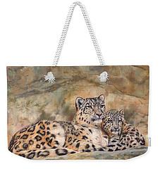 Snow Leopards Weekender Tote Bag by David Stribbling