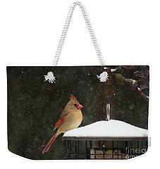 Snowy Cardinal Weekender Tote Bag by Benanne Stiens