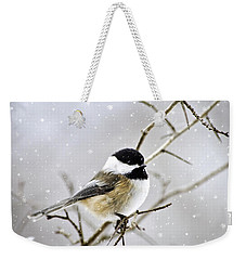 Snowy Chickadee Bird Weekender Tote Bag by Christina Rollo
