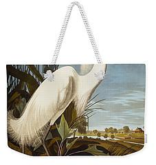 Snowy Heron Or White Egret Weekender Tote Bag by John James Audubon