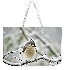 Snowy Tufted Titmouse Weekender Tote Bag by Christina Rollo