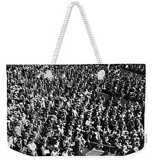 Baseball Fans At Yankee Stadium In New York   Weekender Tote Bag by Underwood Archives