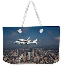 Space Shuttle Endeavour Over Houston Texas Weekender Tote Bag by Movie Poster Prints
