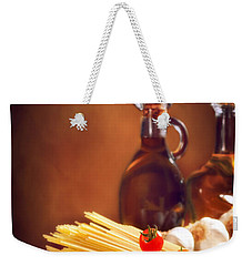 Spaghetti Pasta With Tomatoes And Garlic Weekender Tote Bag by Amanda Elwell