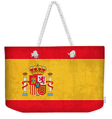 Spain Flag Vintage Distressed Finish Weekender Tote Bag by Design Turnpike