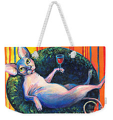Sphynx Cat Relaxing Weekender Tote Bag by Svetlana Novikova