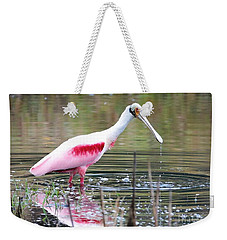 Spoonbill In The Pond Weekender Tote Bag by Carol Groenen