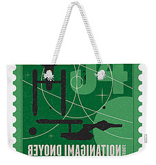 Starschips 34-poststamp - Uss Enterprise Weekender Tote Bag by Chungkong Art