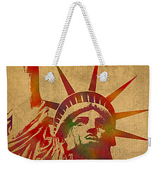 Statue Of Liberty Watercolor Portrait No 2 Weekender Tote Bag by Design Turnpike